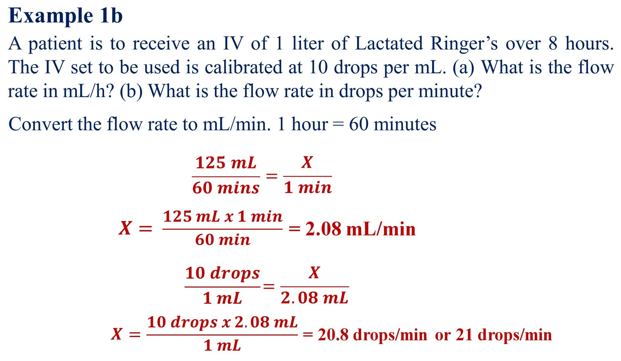 IV Flow Rate Calculations-Example 1b-RxCalculations-