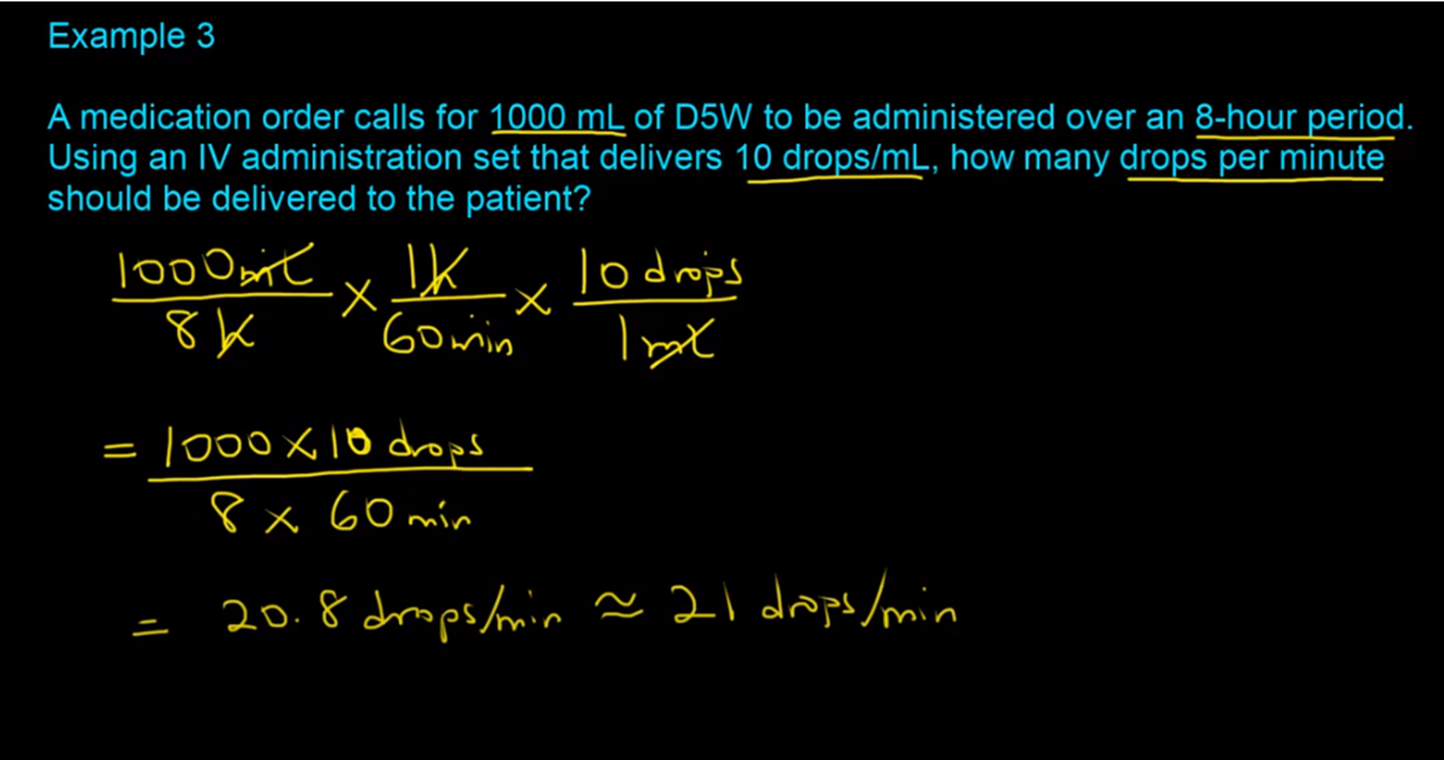 IV Flow Rate Calculations-Example 3-RxCalculations
