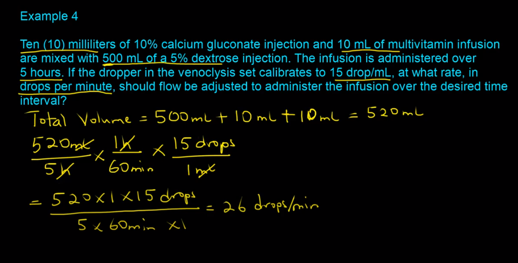 IV Flow Rate Calculations-Example 4-RxCalculations-