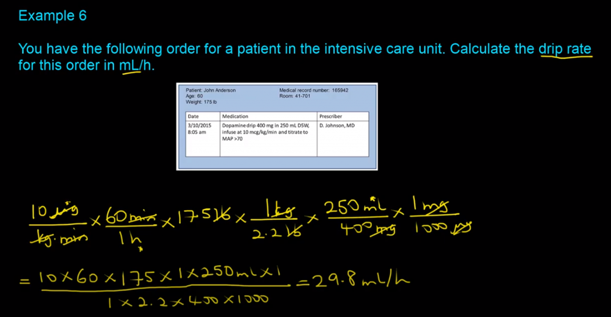IV Flow Rate Calculations-Example 6-RxCalculations-