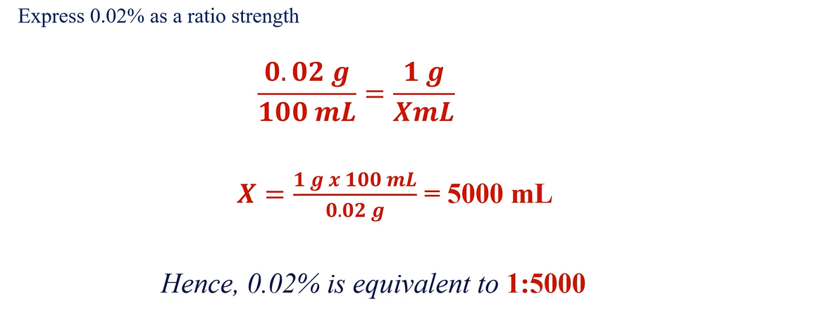 Converting percentage concentration to ratio strength