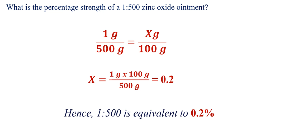 Converting ratio strength to percentage concentration