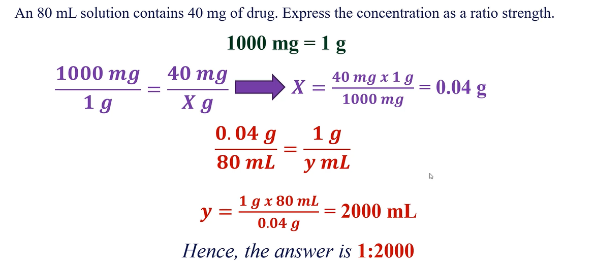 calculating the ratio strength of a given pharmaceutical preparation
